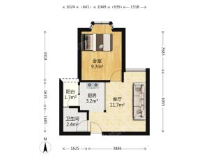 缔梦园 1室1厅 41㎡ 整租_缔梦园租房户型图片4